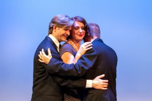 Otto (Jeffrey Watkins, left), Gilda (Nyree Hughes) and Leo (Garry Davies) are trapped in a �three-sided erotic hodgepodg
